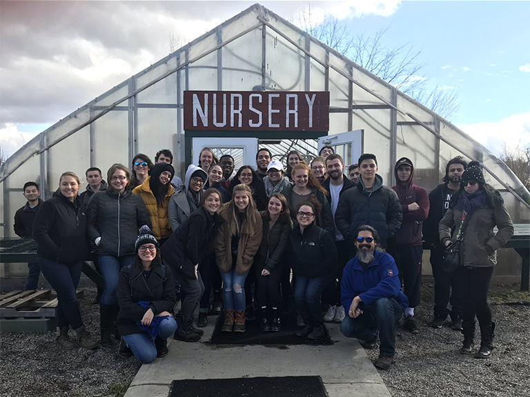 Chemical engineering students at McEnroe organic farm