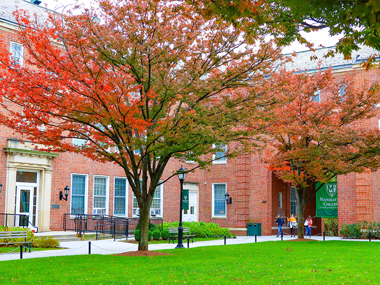 Photo of campus quadrangle with fall colors