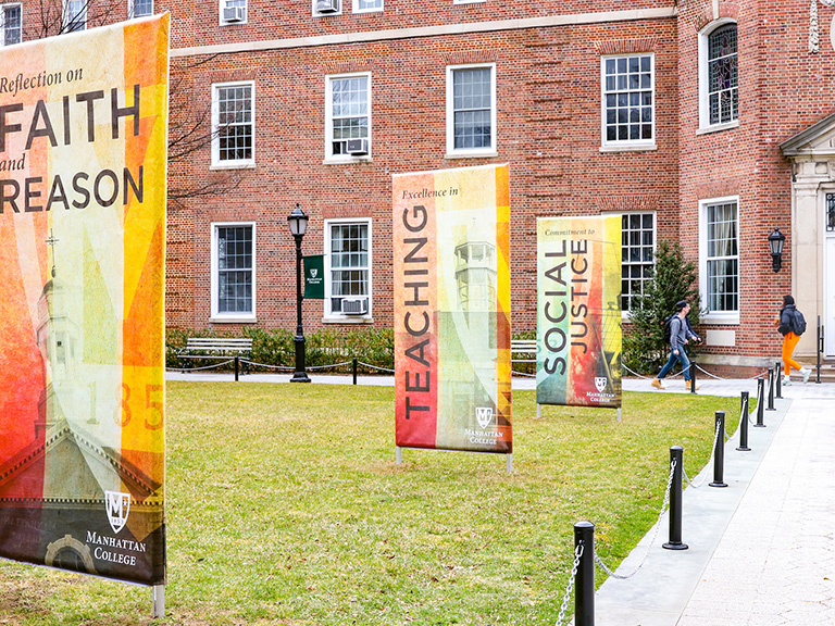 Mission Month banners on quad March 2019
