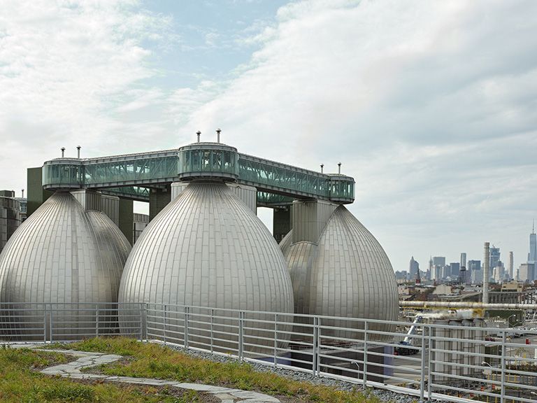 Digestor eggs of the Newtown Creek wastewater treatment plant