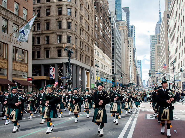 Manhattan College marching in the St. Patrick's Day parade