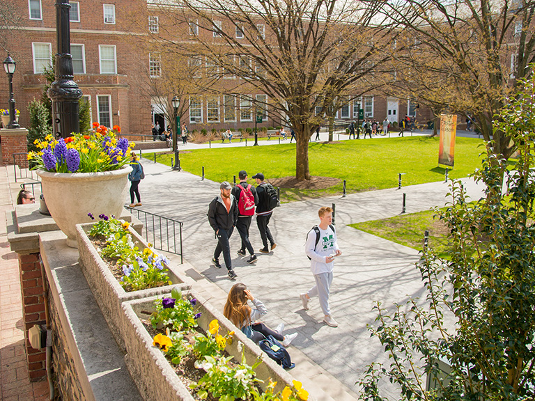 Students on quadrangle during spring 2019