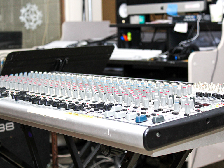 Sound board in performing arts space