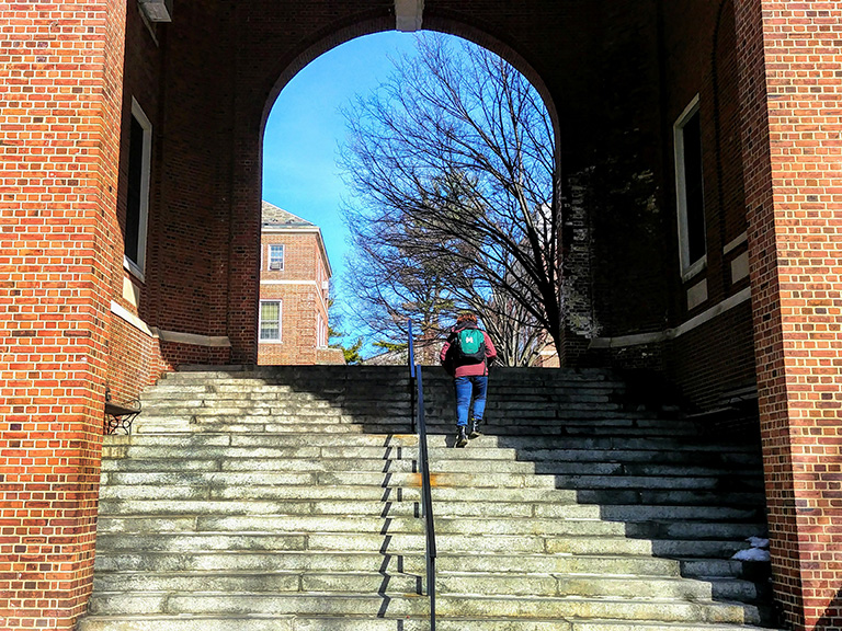 Students climbing archway steps