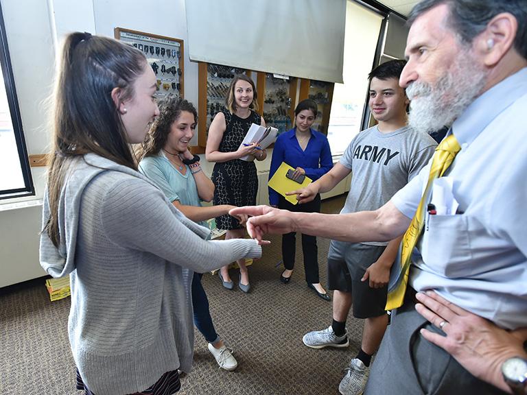 High school students with Manhattan College professors
