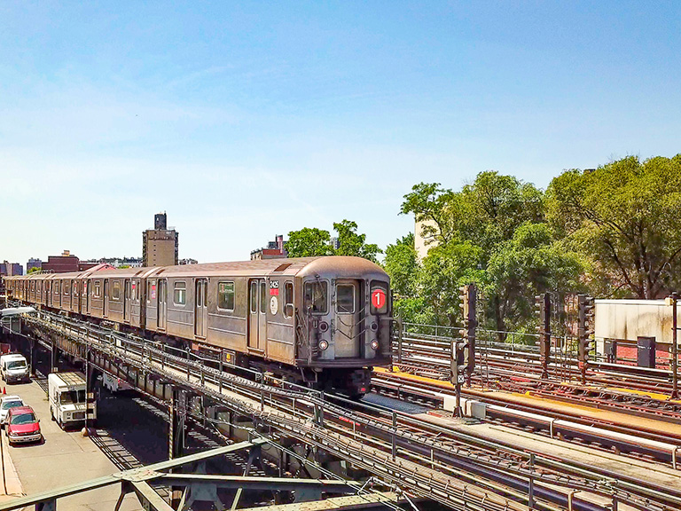 1 train pulling out of 238th Street station going north