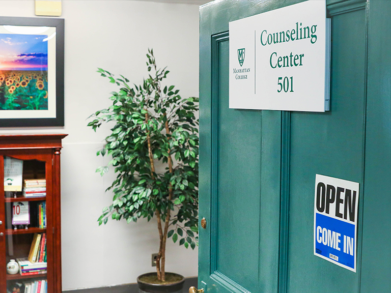 Counseling Center door open showing the inside.