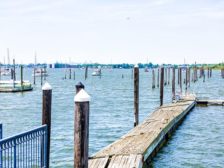 oceanfront pier overlooking blue water