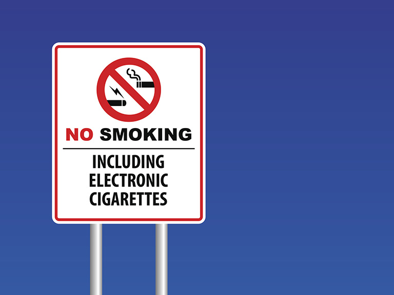 No smoking or using e cigarettes sign