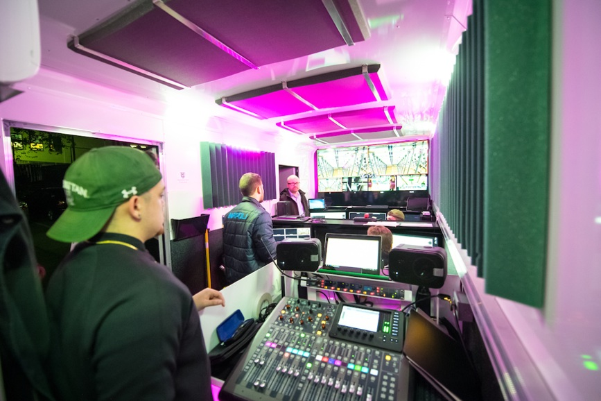 Inside of production truck