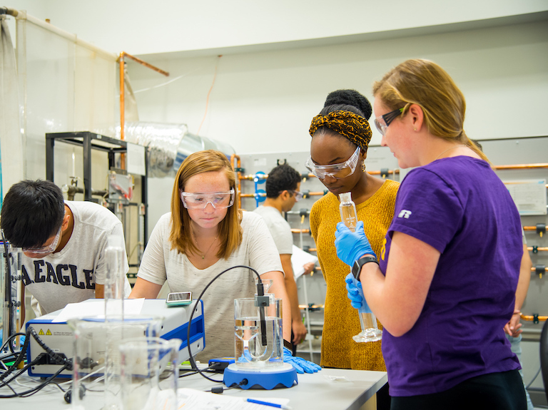 Students in chemical engineering lab