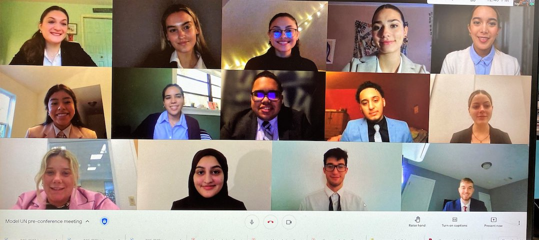 Model UN team on Google Meet