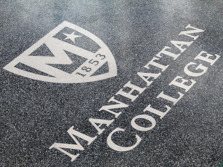 Manhattan College logo on new floor