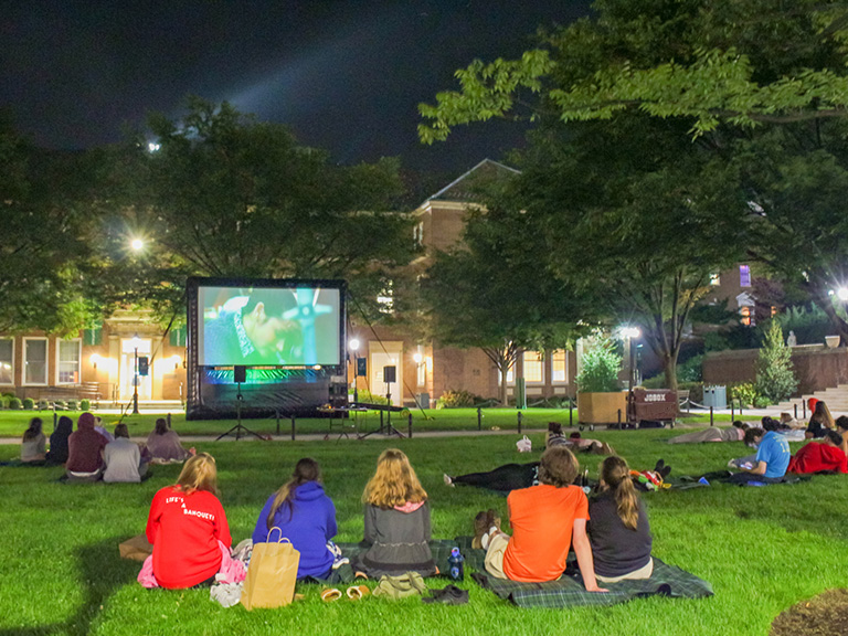Movie night on the quadrangle