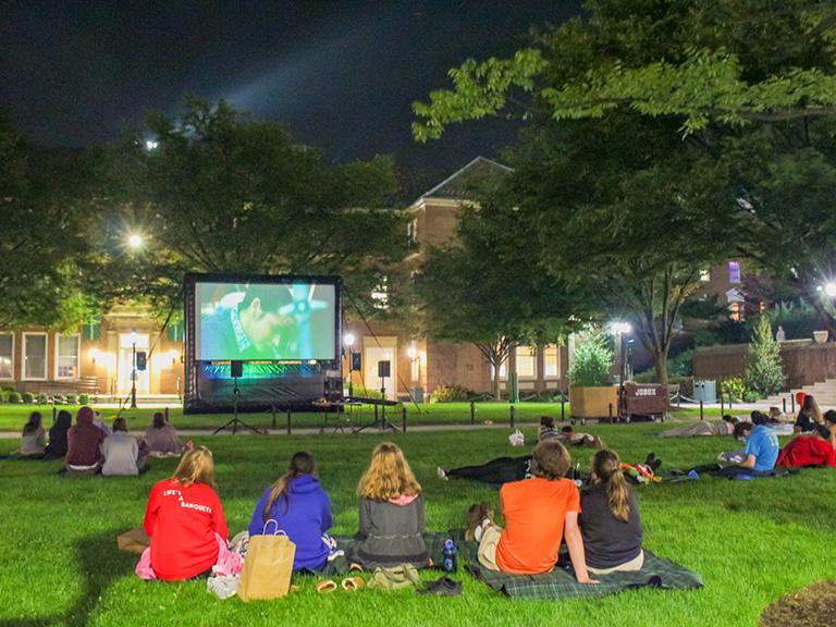 Movie night on the quadrangle