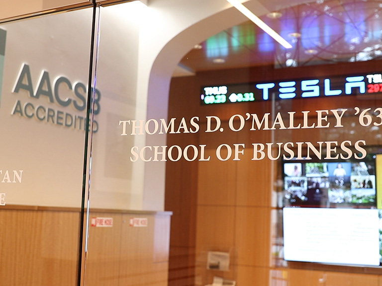O'Malley School of Business entrance