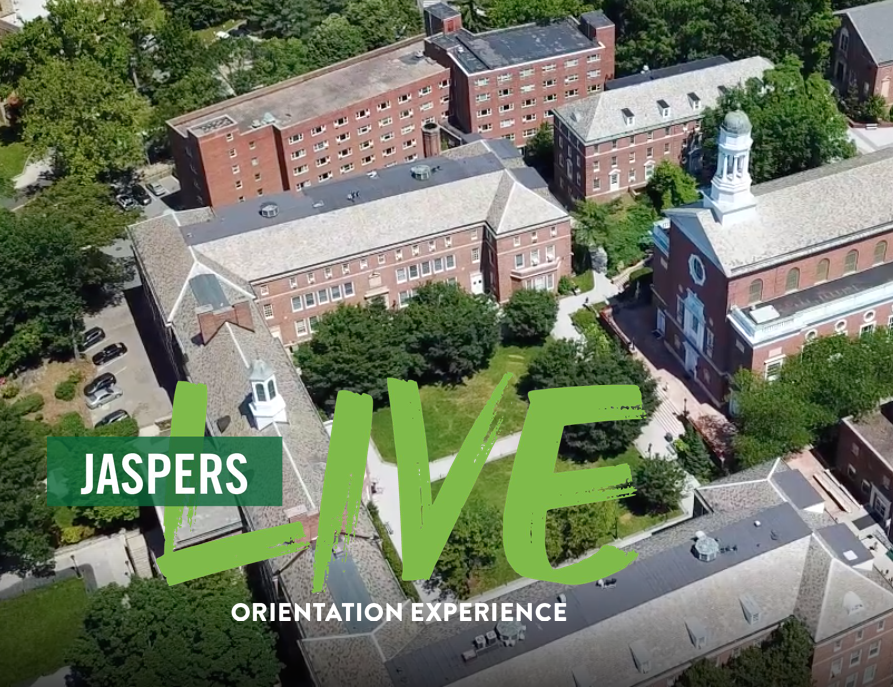 "Aerial photograph of Manhattan College main campus with text overlay stating, ""Jaspers Live Orientation Experience""."