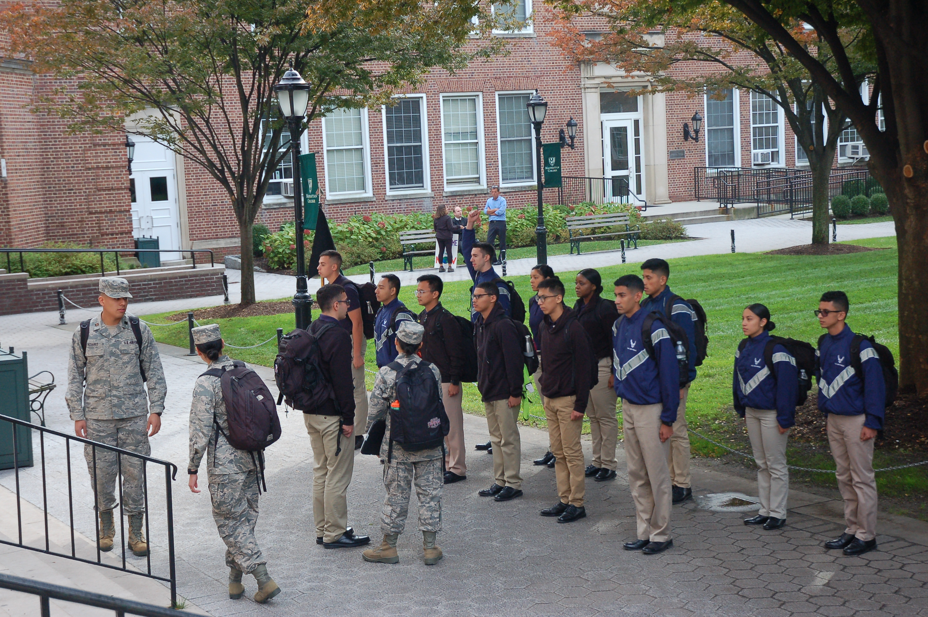 Students in front of Manhattan College Quad