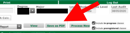 screenshot of degree works showing save as pdf button
