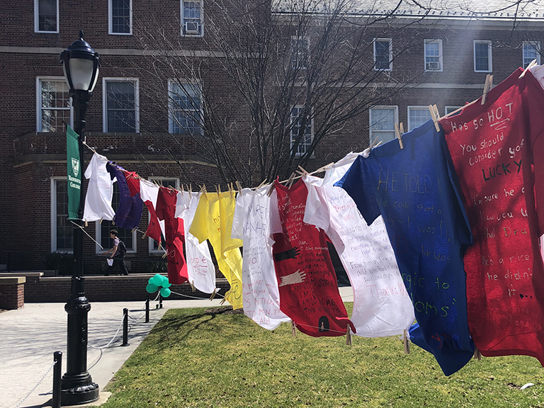 t shirts hanging on clothesline