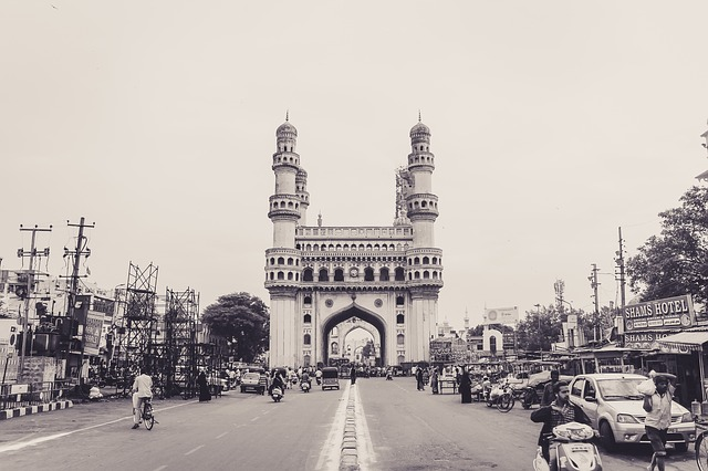 View of the Charminar Mosque in Hyderabad, India.