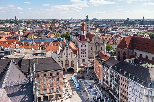 An aerial view over the city of Munich.